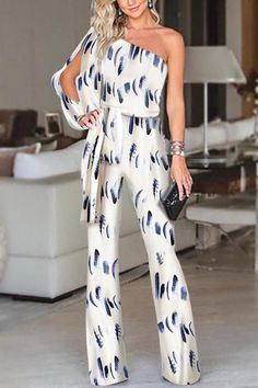 cb763cdc3236 Fashion One Shoulder Slit Sleeve Jumpsuit