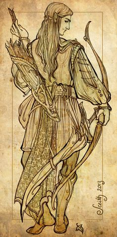 Elven warrior sketch - look at these lines! The artist really knows what she is doing!