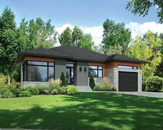 Modest in size, this Contemporary house plan makes a great three bedroom starter home.The open floor plan maximizes the feeling of spaciousness.Sliding glass doors in the dining area lead out to the back covered porch where there Exterior Colors, Exterior Design, Porch Kits, Building A Porch, Contemporary House Plans, Starter Home, House With Porch, Level Homes, Architecture Design