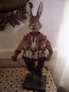 antique paper mache clockwork rabbit  and 3 bunnies all nodders and mouth moves