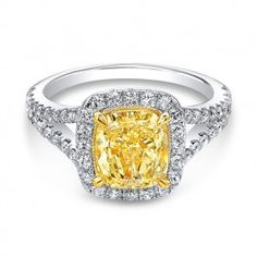 Yellow The One Cushion Diamond Halo Engagement Ring Wedding Day Diamonds