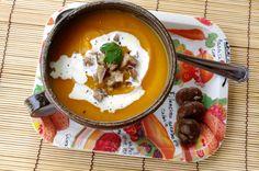 Velouté de potiron, carottes et éclats fondants de châtaignes - KiyaKuisine