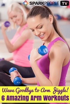 Try these 6 amazing arm workouts in the comfort of your own home today--lose the arm jiggle and feel more confident for the summer. Get in these exercises today!