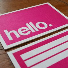 hello. business card design letterpress #pink
