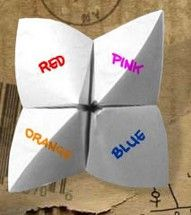 I don't know about the color coding, but we used to draw little bugs inside and call these cootie catchers!