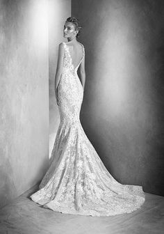 Atelier Pronovias Ilari Mermaid Open Back Lace Wedding Dress