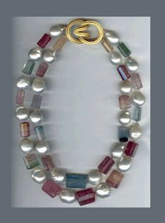N-2816 Afghan Tourmaline and Pearl necklace with Ridged Angela clasp, 18K yellow Gold