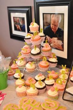 Baby Shower ideas- alphabet cupcakes