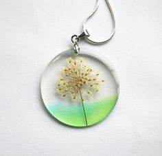 Real Flower Necklace Green Queen Anne's by NaturalPrettyThings, $28.00