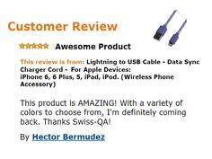 Awesome review for SWISS-QA new Lightning Cables
