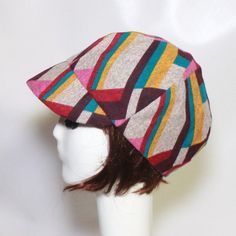 SALE Newsboy Cap Multi Color Abstract Knit Visor by Bellastarrhats
