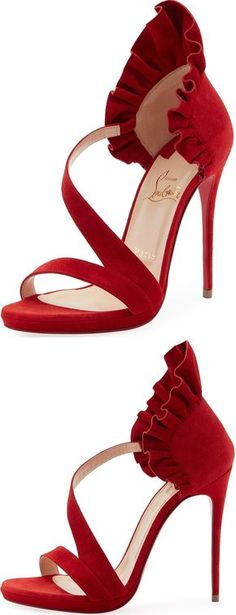 "Christian Louboutin ""Colankle"" red sculptural-ruffle open-toe high-heeled platform sandals"