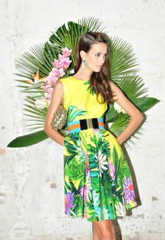 MSGM  yellow with tropical print, aqua and orange wide belt, textural clutch