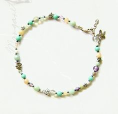 Womens+Teal+Purple+and+Cream+Beaded+Ankle+by+maggiesbeadery,+$25.00