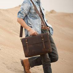 "Vintage Handmade Antique Crazy Horse Leather Briefcase Messenger 14"" Laptop / 15"" MacBook Bag"