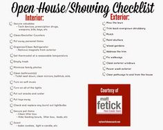 FANTASTIC checklist for home sellers to use before hosting an Open House or having a showing