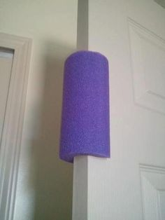 Pool Noodle on Door. toddler proof doors