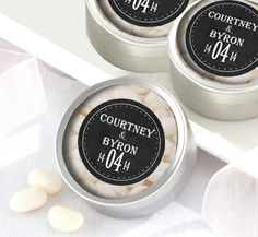 Chalk Board Personalised Wedding Bomboniere Tins (Set of 12)