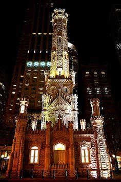 Chicago Water Tower illuminated at night, Illinois | Flickr - Photo Sharing!