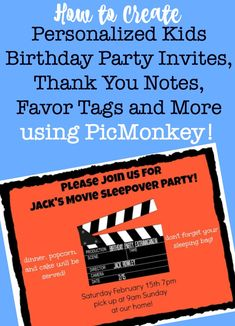 Creating personalized kids birthday party invitations and party stationery is easy with PicMonkey, and is just one more way to make your at-home birthday parties special without spending a thing! #KidsBirthdayPartyInvitations #KidsBirthdayParties #KidsParties #PicMonkey via @sharonmomof6 Birthday Party At Home, Birthday Activities, Birthday Themes For Boys, Kids Party Themes, Birthday Party Games, 10th Birthday, Birthday Decorations, Birthday Cakes, Birthday Ideas