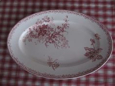 French Country Antique Red Transferware Platter Sarreguemines