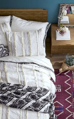 Texture and pattern come to play in bedding.
