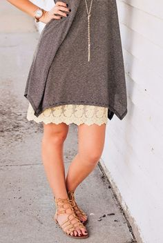 Cream Lace Dress Extender: A gorgeous way to add length, flair and detail to any dress, tunic or longer top.