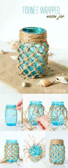 Fishnet Wrapped Mason Jar.
