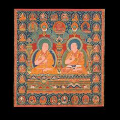 A lineage portrait thangka of the Ninth and Tenth abbots of Ngor monastery, Southern Tibet, Ngor monastery, circa 1557.