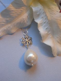 Sterling Silver Scroll and Pearl Necklace by TheButterflyGarden7, $32.00