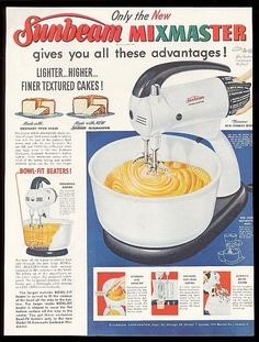 1952 Sunbeam Mixmaster mixer photo diagram Christmas vintage print ad