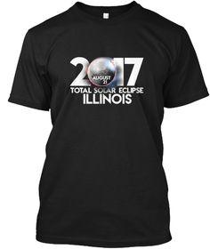 Illinois Total Solar Eclipse August 2017 Black T-Shirt Front