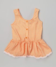 Look what I found on #zulily! Creamsicle Polka Dot Ruffle Button-Up Tank - Toddler & Girls by Chillipop #zulilyfinds