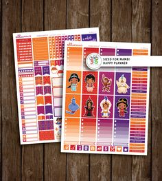 MAMBI Arabian Nights Weekly Kit | PRINTABLE pdf jpg | Disney Aladdin Inspired Planner Stickers | Mambi Happy Planner | Princess Jasmine by ellums on Etsy