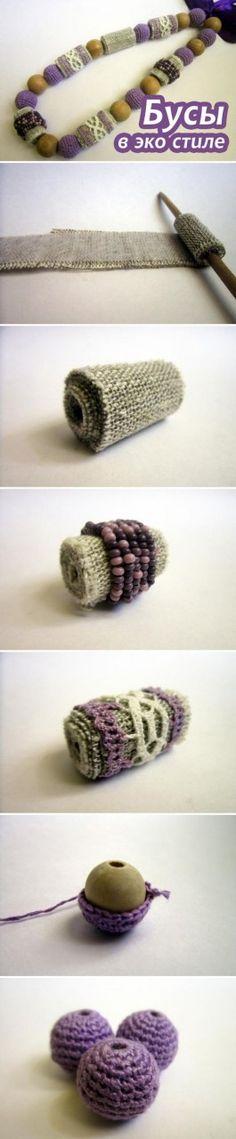 Делаем бусы в эко стиле / DIY: Eco-friendly Beaded Necklace: