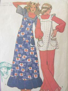 Vintage McCall's 3376 Sewing Pattern, 1970s Boho Dress, Long Dress, Pinafore Pattern, Bust 32.5, 1970s Sewing Pattern, Seventies Dress by sewbettyanddot on Etsy