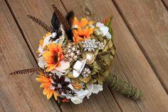 Duck Dynasty inspired Hunting Pheasant Camo wedding bridal brooch bouquet etsy wedding on Etsy, $75.00