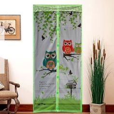 The new high-grade printing summer owl mosquito curtain magnetic soft screen door curtain buckle birds mute Salmonella #Affiliate