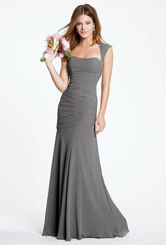 "Brides.com: . Style 5530e, ""Iman"" chiffon bridesmaid dress, $270, Watters available at Weddington Way"