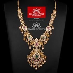 Dhrithi Grand CZ Pachi Haar Necklace L : inches; W : inches Pendant L : inches; W : inches Gold Wedding Jewelry, Bridal Jewelry, Gold Jewelry, Diamond Jewelry, Gold Necklaces, Bridal Earrings, Gold Earrings Designs, Necklace Designs, Schmuck Design