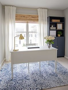 Navy and Grey Office Makeover Reveal - Angela Marie Made : A pretty home office makeover filled with easy DIY projects that make a big impact. This office transformation has a navy, grey, and natural decor style and functional office storage ideas. Cozy Home Office, Home Office Space, Home Office Design, Home Office Decor, Home Design, Diy Home Decor, Office Furniture, Interior Design, Office Ideas
