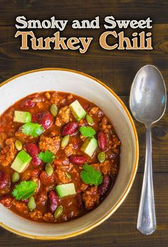 Smoky and Sweet Turkey Chili. This sweet and savory chili is perfect for game day plus a cookbook giveaway