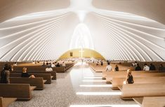 Image 2 of 18 from gallery of Sordo Madaleno Arquitectos Proposes a New Design for Mexico's Querétaro Cathedral. Photograph by Sordo Madaleno Arquitectos Highway Architecture, Sacred Architecture, Church Architecture, Religious Architecture, Light Architecture, Architecture Design, Terrazzo, Vienna House, Archdaily Mexico