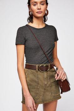 Canvas Relaxed Mini Skirt   Free People