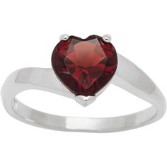 CHROMA Sterling Silver Heart Birthstone Ring (Size 9, garnet), Women's