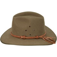 This neat conservative band is formed of a double round braid in kangaroo, with two sliding knots for adjustment. The width is approximately inch. The hat band is shown here on the Snowy River hat. Our own production, made in USA. Tan Hat, Fedora Hat, Akubra Hats, Round Hat, Sliding Knot, Natural Tan, Felt Hat, Braided Leather, Hats For Men