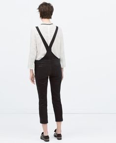 ZARA - WOMAN - ZIPS AND RIPS DENIM DUNGAREES