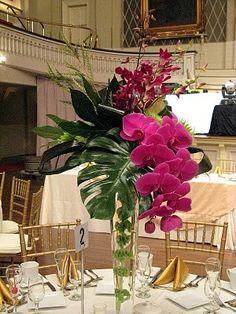 32 Ideas Wedding Flowers Table Arrangements Tall Floral Design For 2019 Tropical Centerpieces, Tropical Floral Arrangements, Orchid Centerpieces, Centerpiece Ideas, Tall Centerpiece, Modern Flower Arrangements, Deco Floral, Floral Design, Floral Wedding