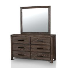 Furniture of America Barrison Transitional 2-piece Wire-brushed Rustic Brown Dresser and Mirror Set