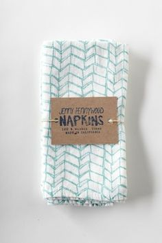 jenny pennywood - everyday washed linen napkins - green zig zag